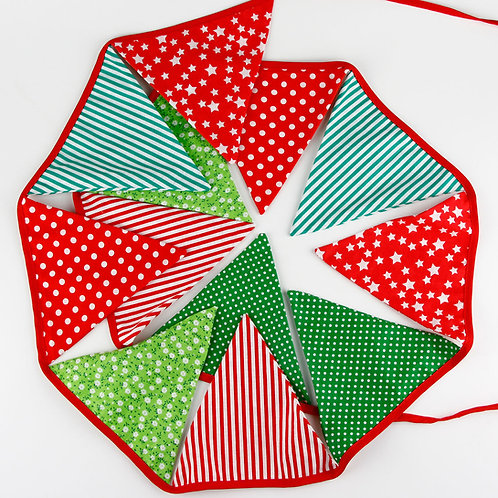 100 x Fabric Bunting - Green & Red