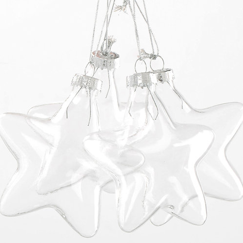 24 Boxes of 6 x Clear Glass Star shaped Christmas Baubbles
