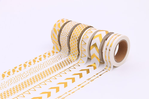 50 Sets of Washi Tapes - White & Gold 1