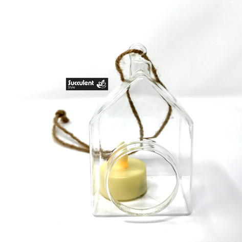 House Shape Glass Hanging Candle Holder