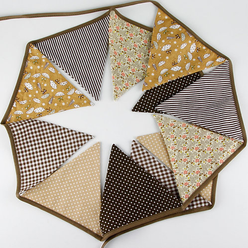 100 x Fabric Bunting -Brown