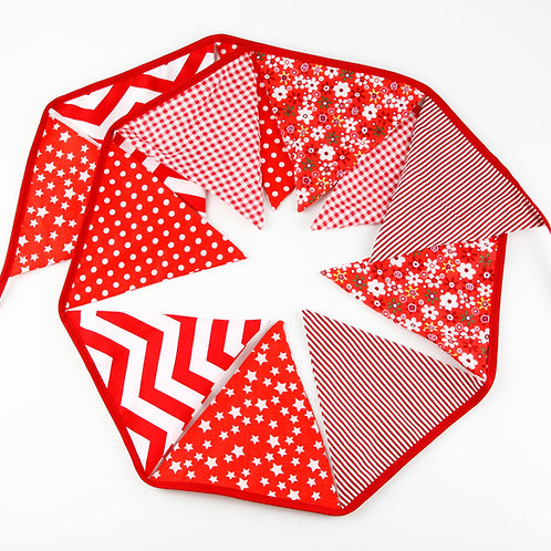 100 x Fabric Bunting -Red