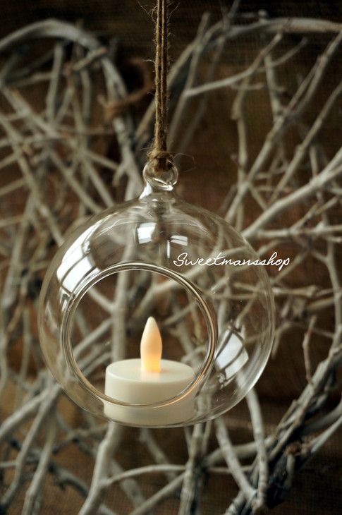 8cm Hanging Glass Candle Holder