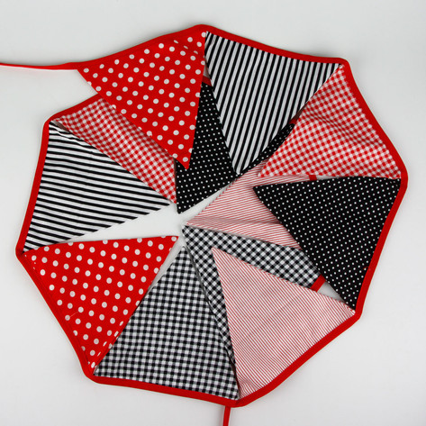 Black & Red Fabric Bunting