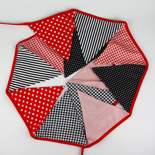 100 x Fabric Bunting - Red & Black