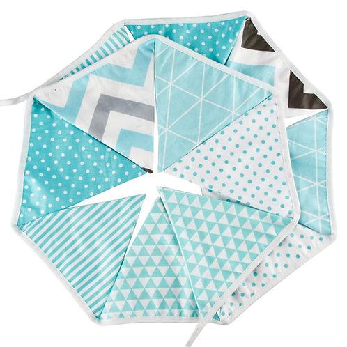 100 x Fabric Bunting - Tiffany Blue