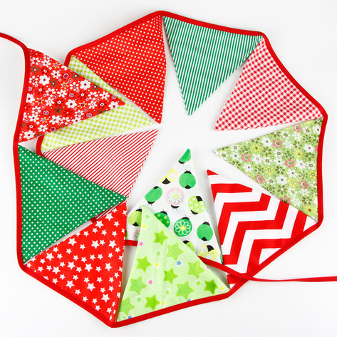 Green & Red Fabric Bunting