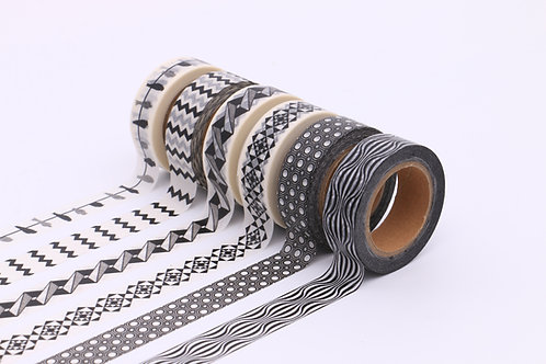 50 Sets of Washi Tapes - Black & White 1