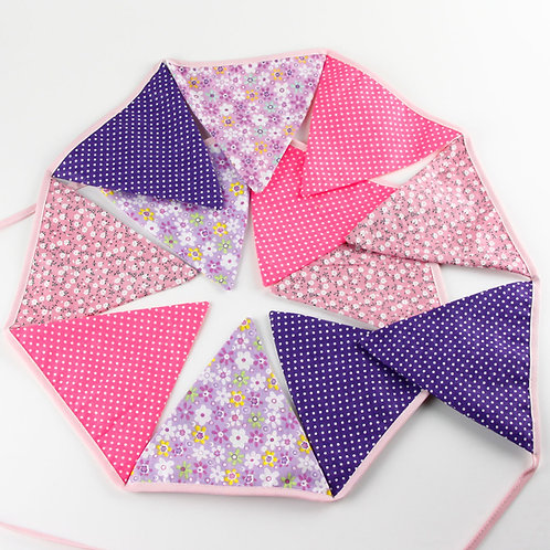 100 x Fabric Bunting - Pink & Purple