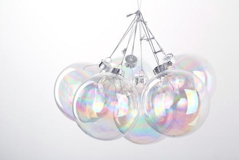 8cm Iridescent Round Glass Christmas Bauble