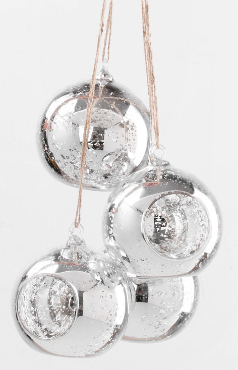 10cm Mercury Silver Hanging Glass Candle Holder