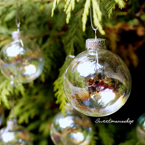 12 Boxes of 12 x 6cm Iridescent Glass Christmas Baubles