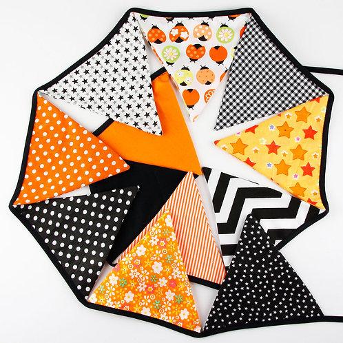 100 x Fabric Bunting - Orange & Black