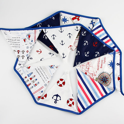 100 x Fabric Bunting - Navy Ocean Anchor Seaside