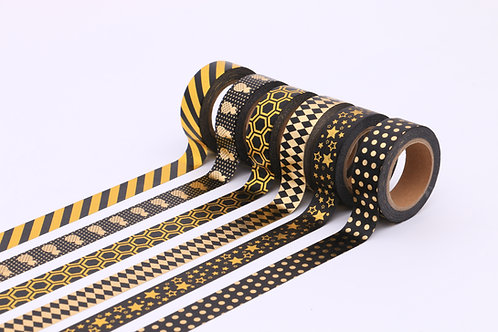 50 Sets of Washi Tape - Black & Gold