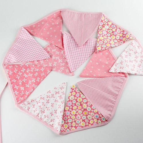 100 x Fabric Bunting - Baby Pink