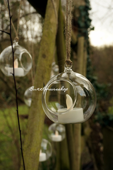 10cm Hanging Glass Candle Holder