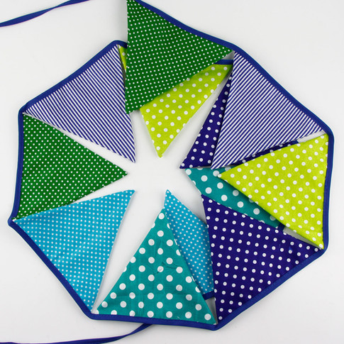Blue & Green Fabric Bunting