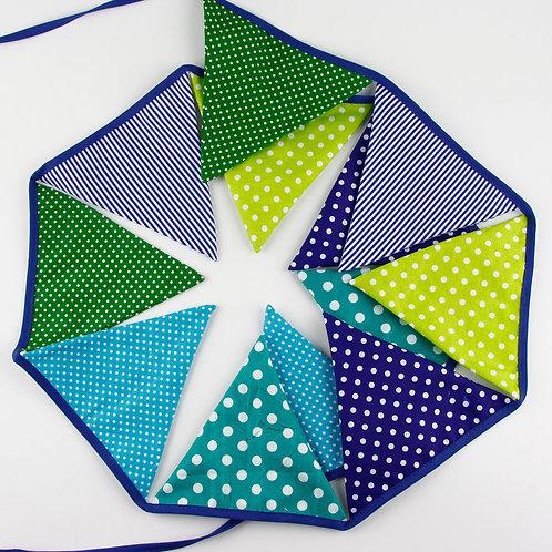 100 x Fabric Bunting -Green & Blue
