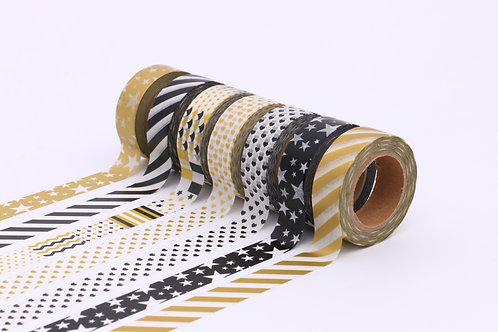 50 Sets of Washi Tape - Black & Gold & White