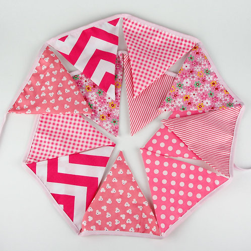 100 x Fabric Bunting - Pink