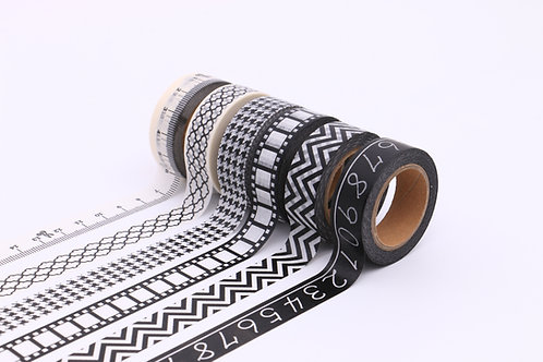 50 Sets of Washi Tapes - Black & White 2