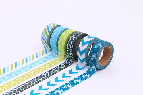 50 Sets of Washi Tapes - Cyan & Green