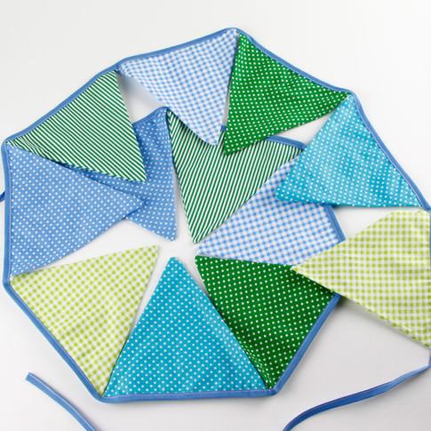 Light Blue & Green Fabric Bunting