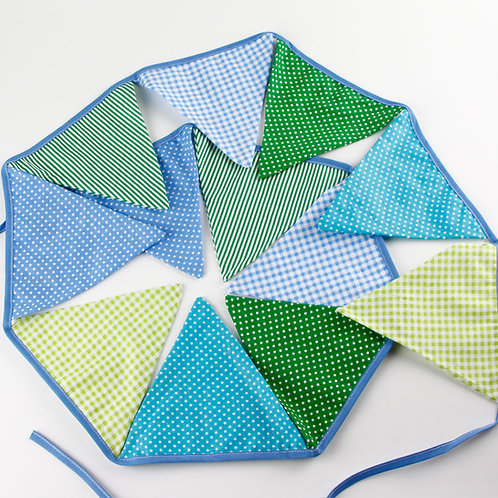 100 x Fabric Bunting - Green & Blue