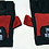 Dorsal view of a pair of our high quality red and black Iron Blood branded workout gloves with thick padding.