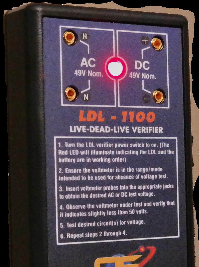 AE LDL-1100 Live-Dead-Live Verifier Front Connectons