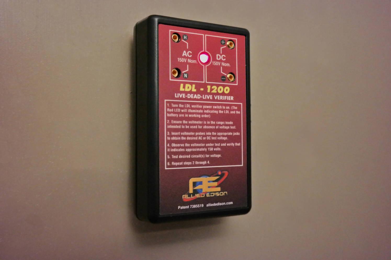 LDL-1100 Live-Dead-Live Verifier Mounted on Metal Door