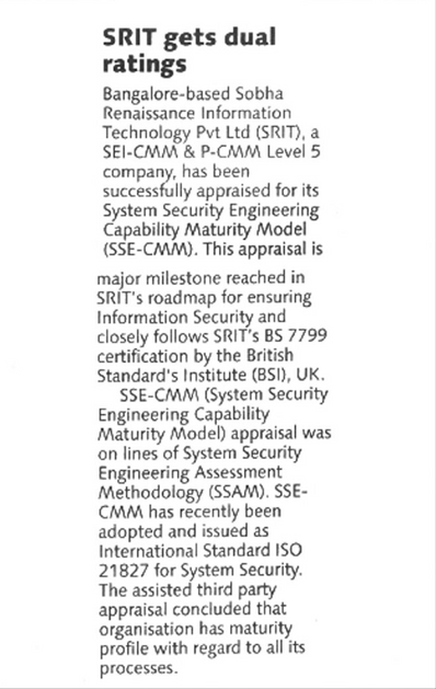 SRIT rated for SSE CMM Level 5 - Deccan Herald 21 August 2004