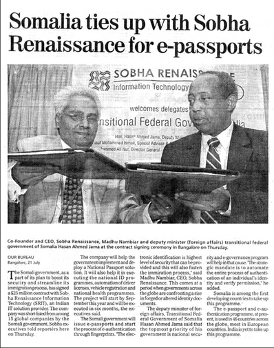 Somalia ties up with SRIT for ePassports - Business Standard 21 July 2005
