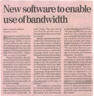 Bandwidth on Demand - Business Standard, 6 June 2007
