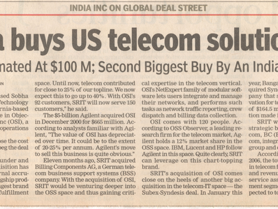 SRIT acquires OSI from Agilent Technologies - The Times of India, 11 April 2007