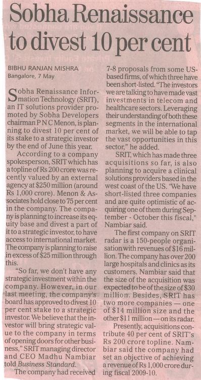 SRIT 10% Divestment - Business Standard 8 May 2007