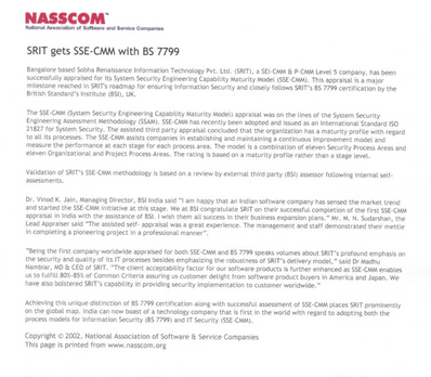 SRIT gets SSE-CMM with BS 7799 - NASSCOM 14 Oct0ber 2004