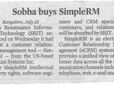 SRIT acquires SimpleRM - The Hindu Business Line, 26 July 2007
