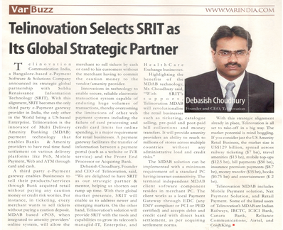 Strategic Partnership with Telinovation - VAR India, 11 July 2008