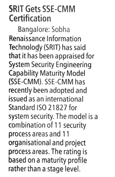 SRIT Gets SSE-CMM Certification - Financial Express 19 August 2004