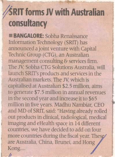 SRIT Joint Venture with Capital Techic Group - The Economic Times, 10 October 2007