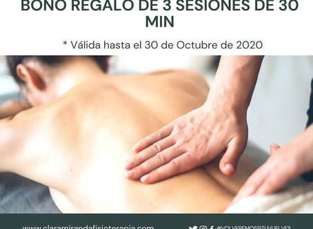 Promoción bono regalo 3 sesiones de masaje