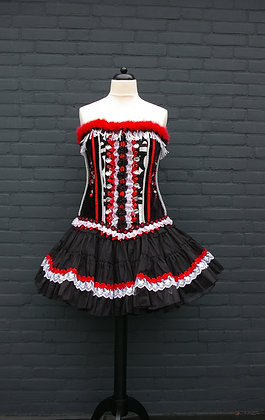 Corset Zwart Rood Wit met Petticoat