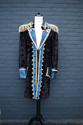 Zwart Blauwe Heren Jas