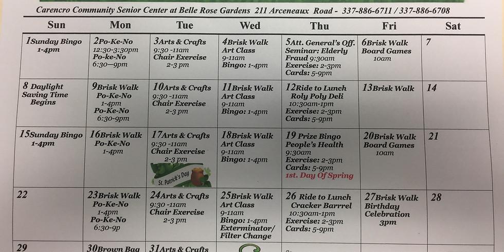 Carencro Senior Center March Events