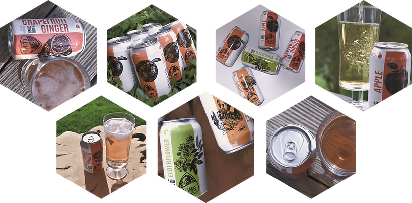 climb hard cider cans, grapefruit ginger cider, apple cider, peach cider, elderflower cider, hard apple cider images
