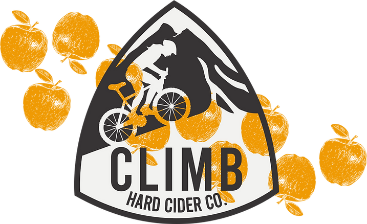 Climb Hard Cider Logo with apples
