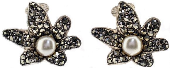 Vintage Silver Marcasite & Pearl Earrings