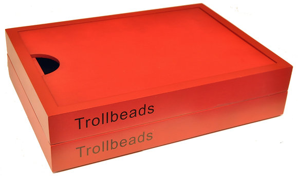 Trollbeads red wooden jewellery box, rare, limited edition, retired